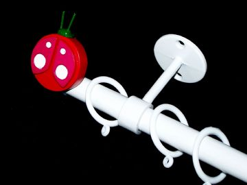 1.2m - 2m Childrens Extendable Ceiling Curtain Pole with LADYBIRD Finials